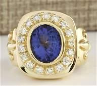 552 CTW Natural Mens Blue Tanzanite And Diamond Ring