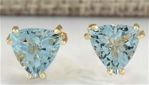 211 CTW Natural Blue Aquamarine Earrings In 18K Yellow