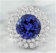 488 CTW Tanzanite 14K White Gold Diamond Ring