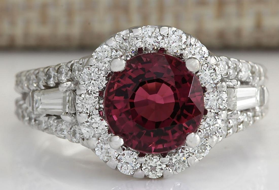 4.02 CTW Natural Pink Tourmaline And Diamond Ring 14K