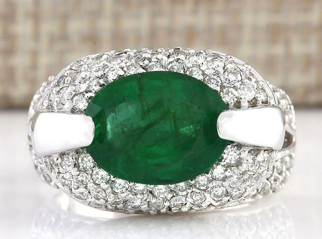 5.08 CTW Natural Emerald And Diamond Ring In 14k White