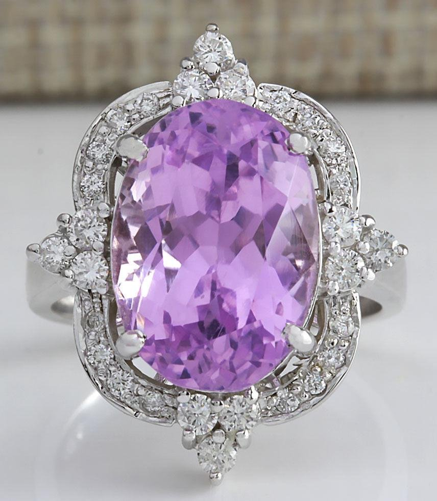11.65 CTW Natural Kunzite And Diamond Ring 18K Solid