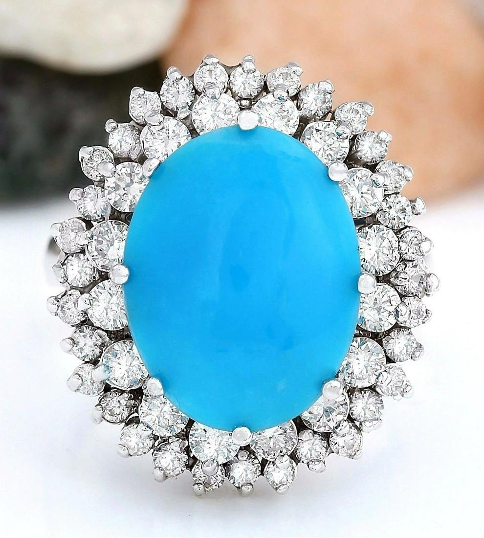 10.82 CTW Natural Turquoise 14K Solid White Gold