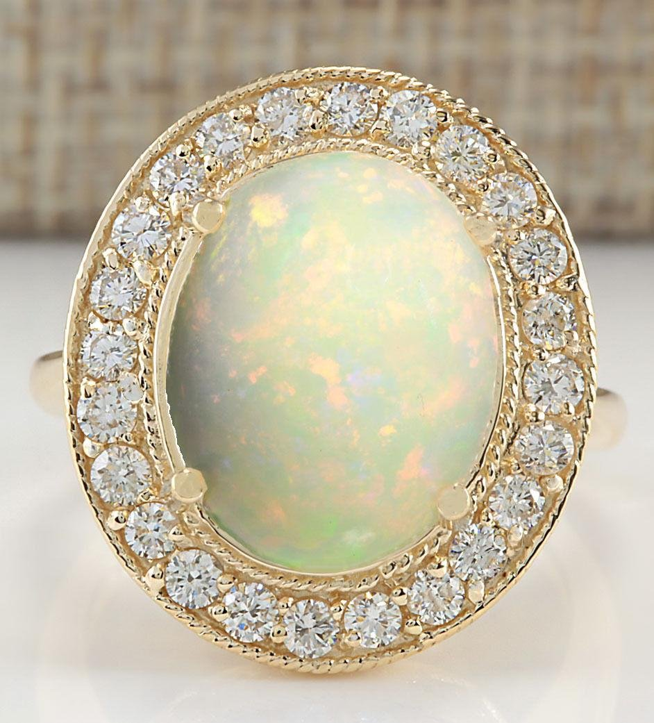 5.25 CTW Natural Opal And Diamond Ring In 18K Yellow