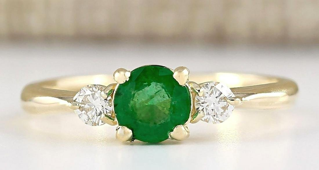 0.70 CTW Natural Emerald And Diamond Ring In 18K Yellow