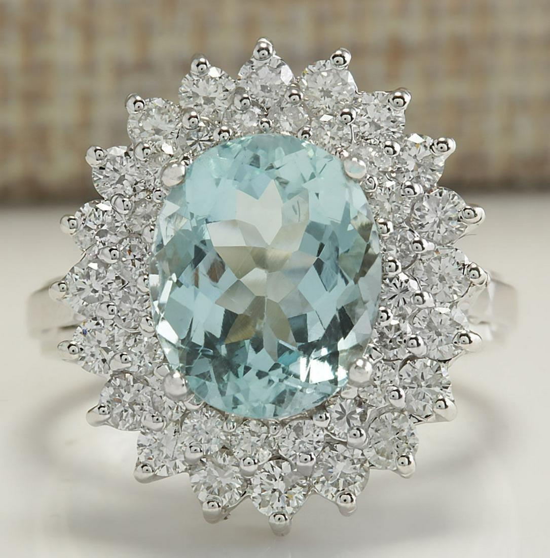 7.03 CTW Natural Aquamarine And Diamond Ring In 18K