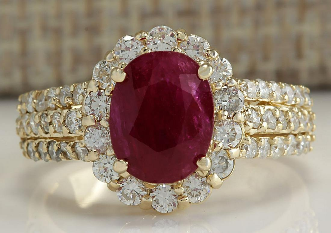 3.73 CTW Natural Red Ruby And Diamond Ring 18K Solid