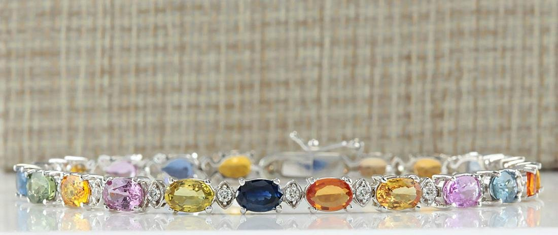 13.35 CTW Natural Sapphire And Diamond Bracelet In 14K