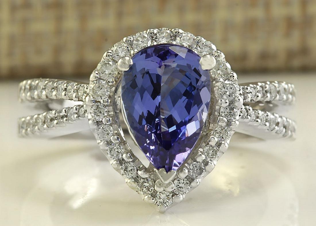 2.94 CTW Natural Blue Tanzanite And Diamond Ring 14K