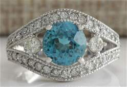 416 CTW Natural Blue Zircon And Diamond Ring 18K Solid