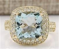 536 CTW Natural Aquamarine And Diamond Ring 18K Solid