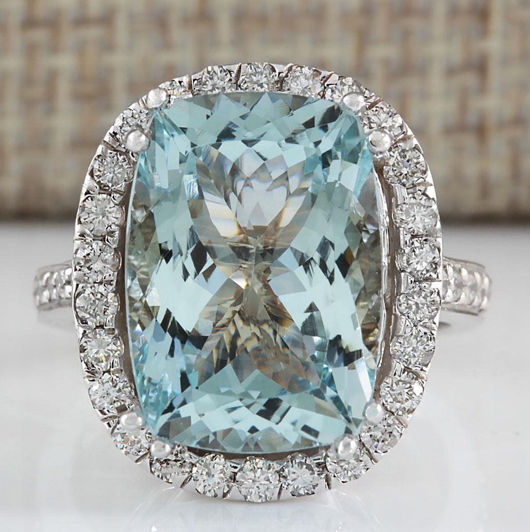 8.62 CTW Natural Blue Aquamarine Diamond Ring 18K Solid