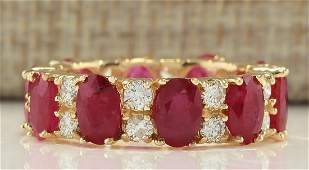 748 CTW Natural Ruby And Diamond Ring In 14K Yellow