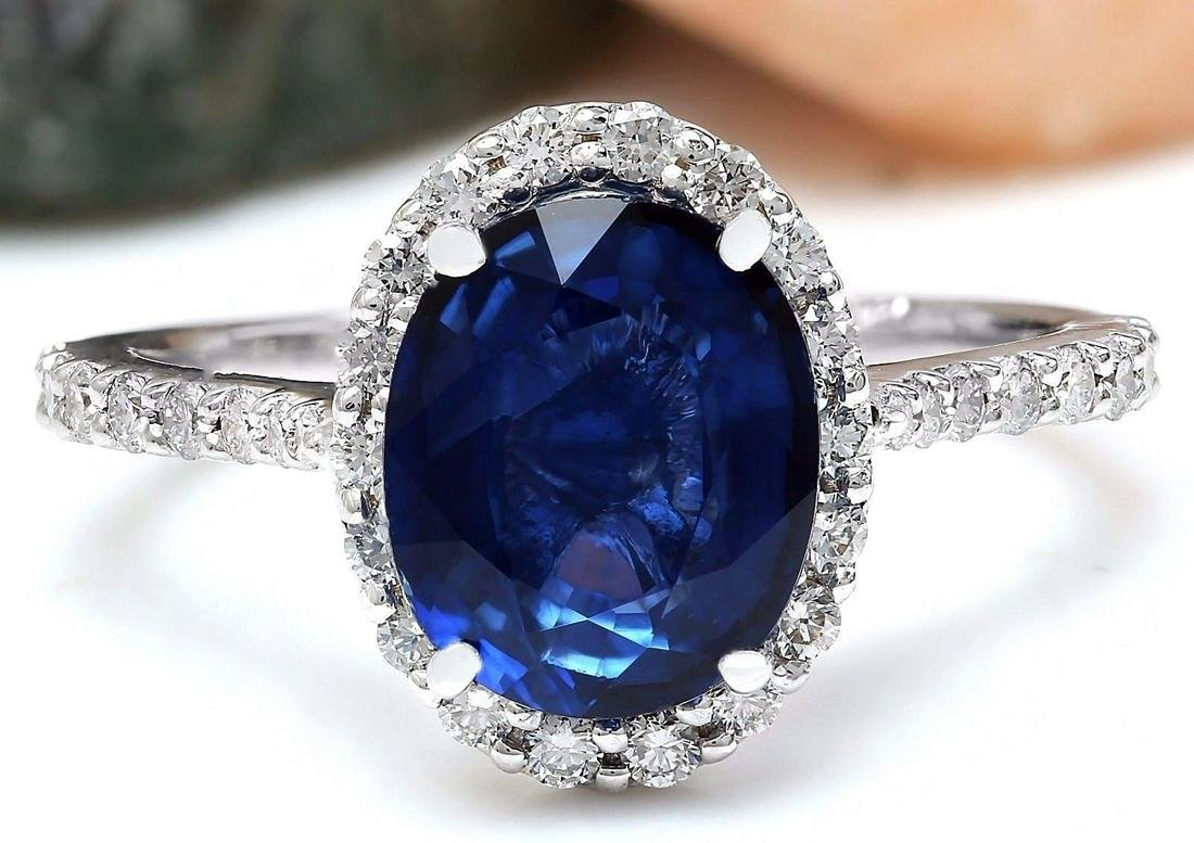 4.27 CTW Natural Ceylon Sapphire 18K Solid White Gold