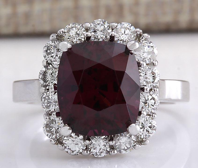 6.17CTW Natural Red Hessonite Garnet And Diamond Ring