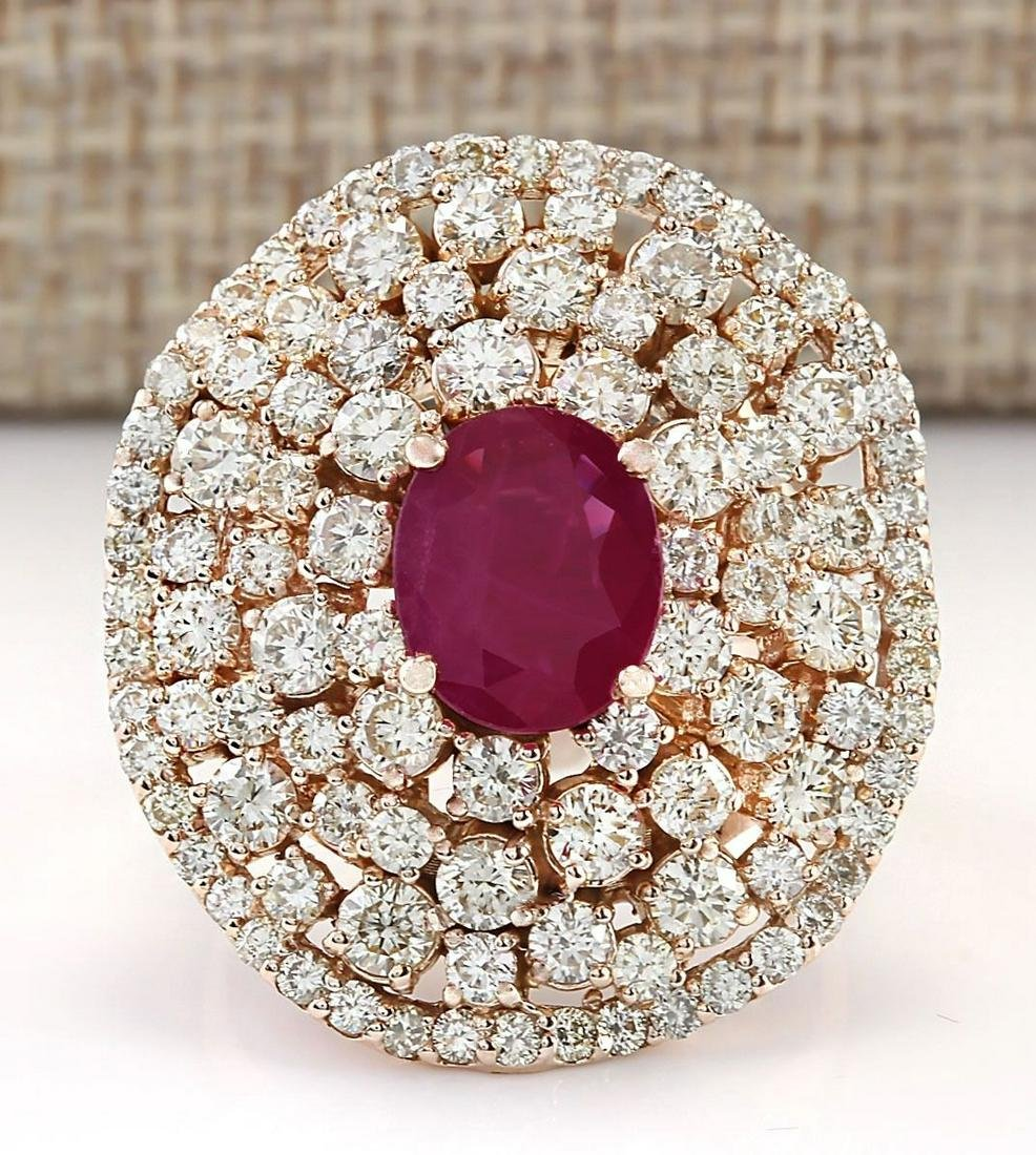 5.98 CTW Natural Ruby And Diamond Ring In 14k Rose Gold