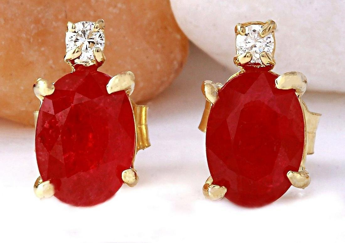 1.76 CTW Natural Ruby 14K Solid Yellow Gold Diamond