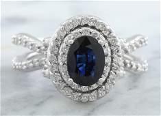 295 CTW Sapphire 18K White Gold Diamond Ring