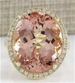 2656 CTW Natural Morganite And Diamond Ring In 18K