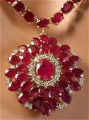 6500 CTW Natural Ruby And Diamond Necklace In 14K