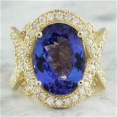 1058 CTW Tanzanite 14K Yellow Gold Diamond Ring