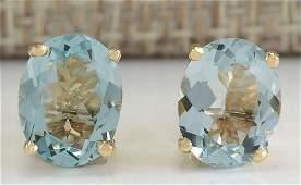 300 CTW Natural Blue Aquamarine Earrings In 18K Yellow