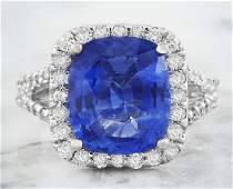 650 CTW Sapphire 18K White Gold Diamond Ring