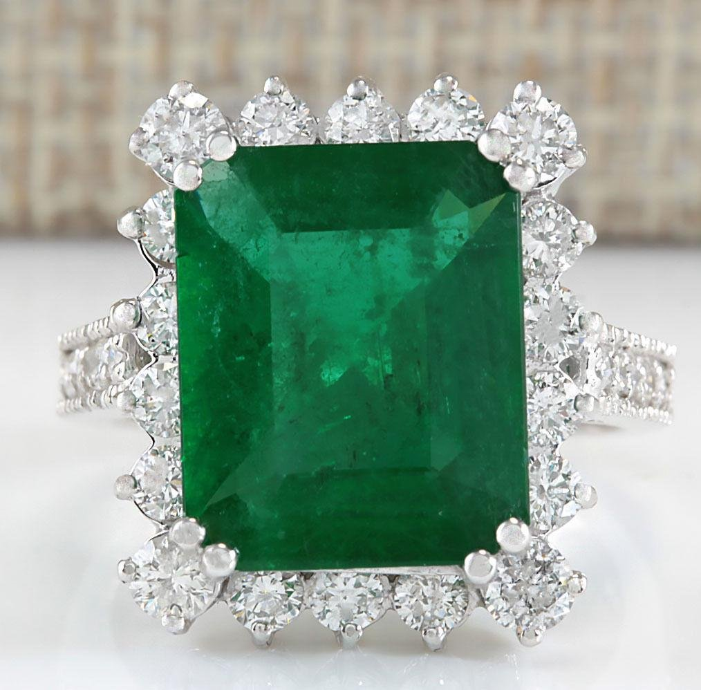 6.94 CTW Natural Colombian Emerald And Diamond Ring In