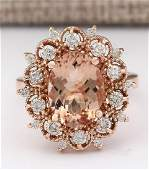 458 CTW Natural Morganite And Diamond Ring In 14k Rose