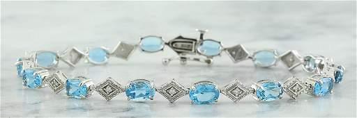 8.50 CTW Topaz 18K White Gold Diamond Bracelet