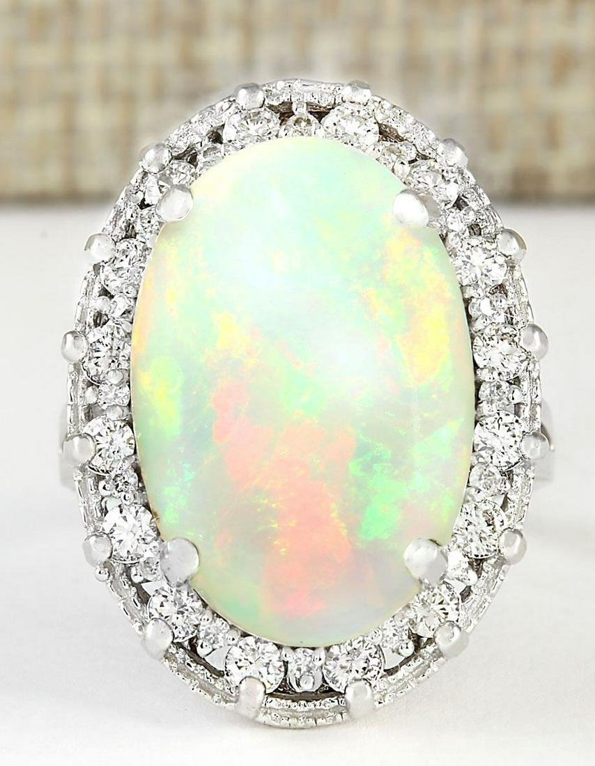 5.54 CTW Natural Opal And Diamond Ring In 14k White