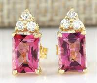 265 CTW Natural Pink Tourmaline And Diamond Earrings