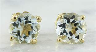 106 CTW Aquamarine 18K Yellow Gold Earrings