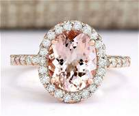 267 CTW Natural Morganite And Diamond Ring In 14k Rose