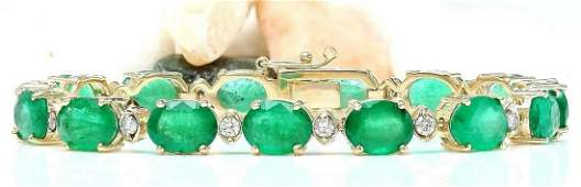 2798 CTW Natural Emerald 18K Solid Yellow Gold Diamond
