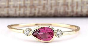 058 CTW Natural Pink Tourmaline And Diamond Ring 18K