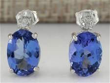 326 CTW Natural Tanzanite And Diamond Earrings 14K
