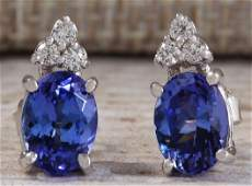 300 CTW Natural Blue Tanzanite And Diamond Earrings