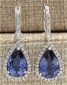 665 CTW Natural Tanzanite And Diamond Earrings 18K