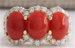 510 CTW Natural Red Coral And Diamond Ring 18K Solid