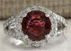 435 CTW Natural Pink Tourmaline And Diamond Ring 18K
