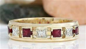 130 CTW Natural Ruby 18K Solid Yellow Gold Diamond