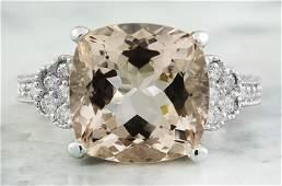 785 CTW Morganite 14K White Gold Diamond Ring