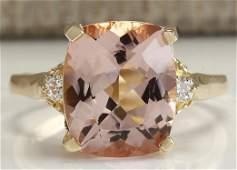 486 CTW Natural Morganite And Diamond Ring 18K Solid