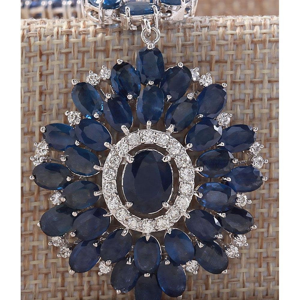 61.35CTW Natural Blue Sapphire And Diamond Necklace In