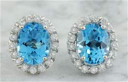 486 CTW Topaz 14K White Gold Diamond Earrings