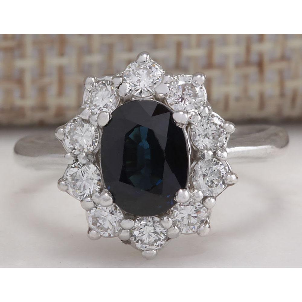 2.74 CTW Natural Blue Sapphire Diamond Ring 18K Solid