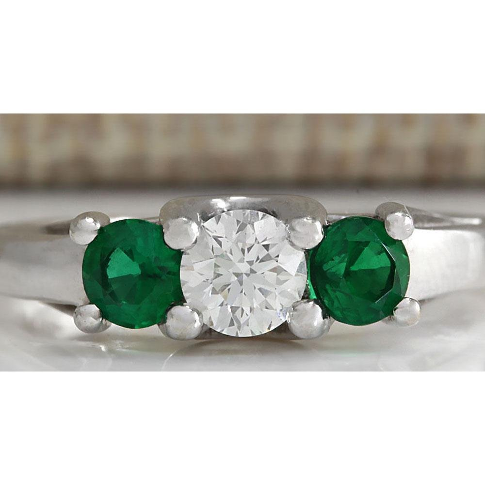 1.00 CTW Natural Colombian Emerald And Diamond Ring 18K