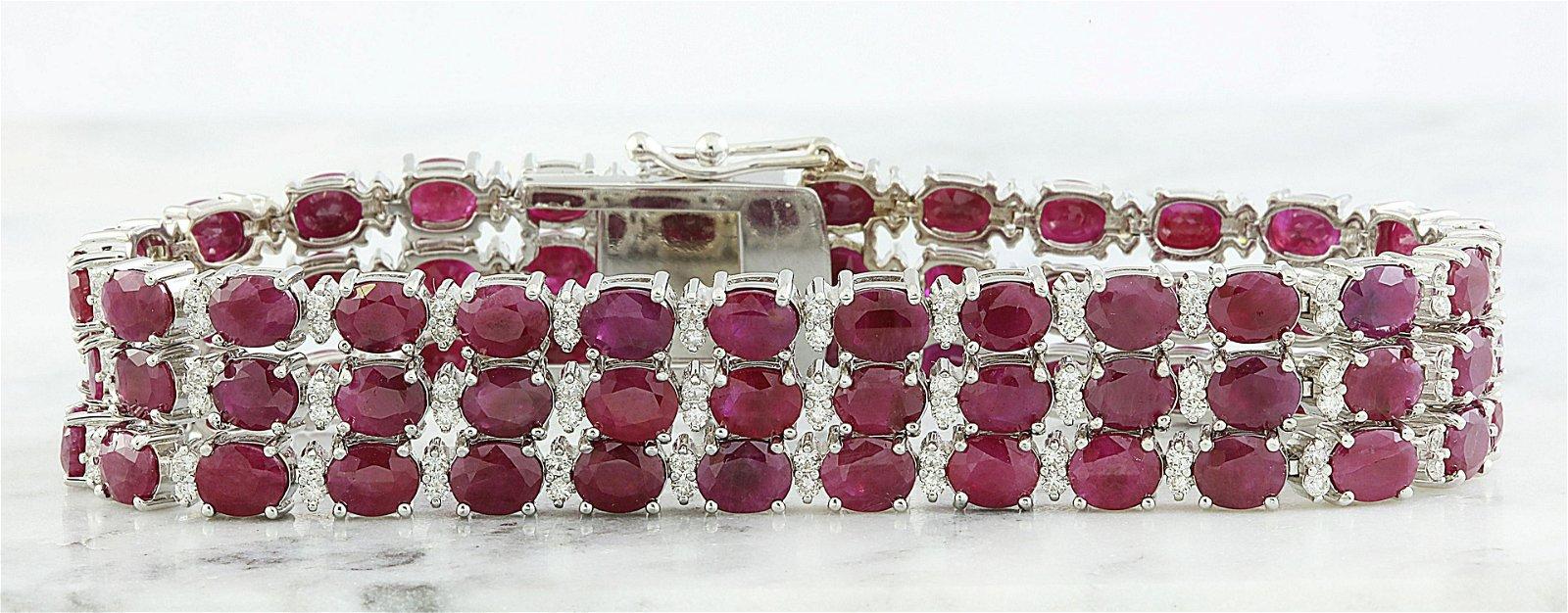 43.00 CTW Ruby 18K White Gold Diamond Bracelet