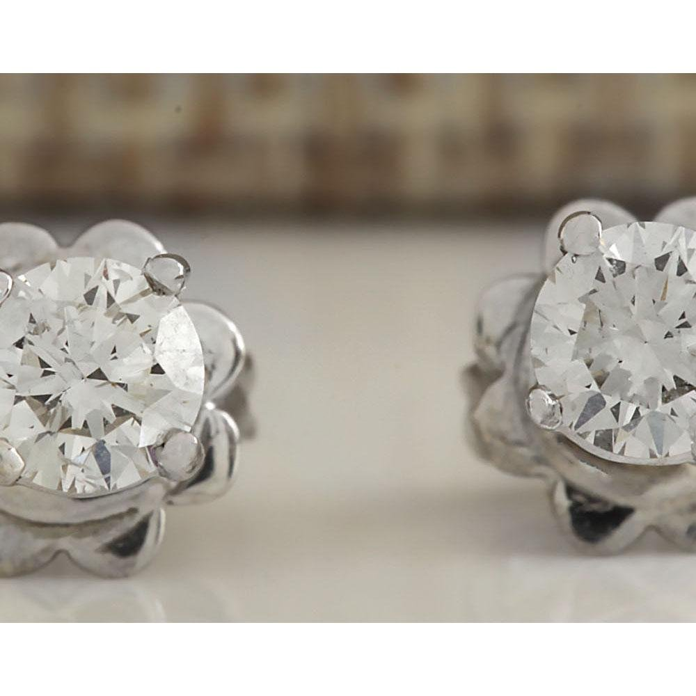 0.55 CTW Natural Diamond Earrings 18K Solid White Gold